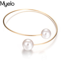 Myelo Fashion Women Jewelry Costume Accessories Simulated Pearl Adjustable Bangle For Women Ladies Cute Romantic Christmas Gifts(China)