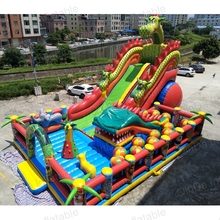 New style inflatable bounce house 0.55mmPVC dragon fun city giant inflatable slides for sale(China)