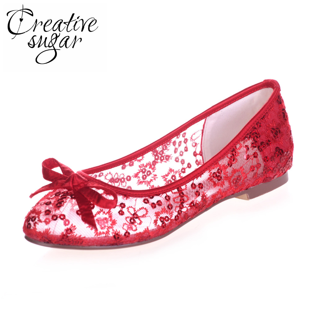 Creativesugar see through lace ballet flats bling sequin summer style beach wedding shoes sky blue hot pink red ivory white gold(China)