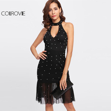 COLROVIE 2017 Pearl Beading Cut Out Front Halter Dress Black Mesh Backless Sleeveless Bodycon Dress Women Sexy Party Dress(China)