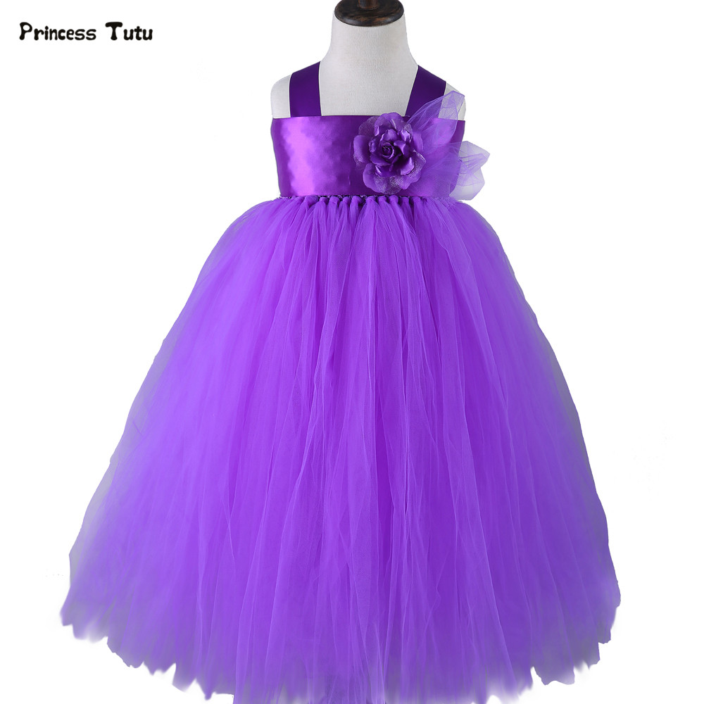 Wedding Flower Girl Dresses Purple Princess Dress Costumes Fluffy Girls Tulle Tutu Dress Baby Kids Pageant Prom Ball Gown Dress<br>