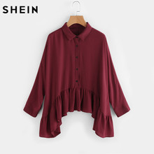 Buy SHEIN Frill Trim Hanky Hem Blouse Burgundy Lapel Long Sleeve Ruffle Hem Autumn 2017 Ladies Tops Casual Women Blouses for $16.97 in AliExpress store