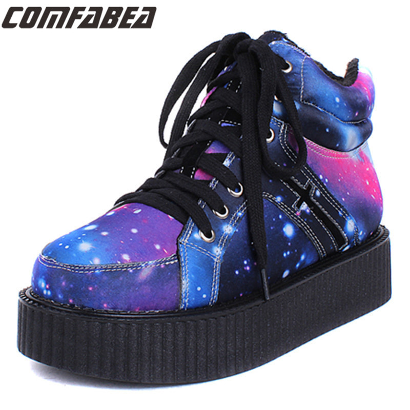 Pattern shoe Womens Winter Punk Shoes 2017 Harajuku Creepers Platform Women Casual Comfortable Galaxy Blue Goth Punk ankle boots<br>