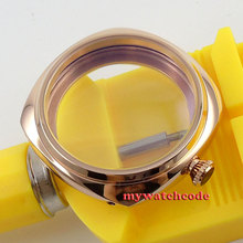 45mm rose golden stainless steel watch case for UNITAS 6497 6498 movement 28