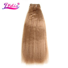 Lydia For Women Kinky Straight Synthetic Hair Extension 12-22 Inch Hair Weaving #27 Pure Color Synthetic Hair Bundles(China)