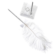 Ostrich Feather Quill Bowknot Guest Book Signing Pen Signature Pens w/Holder Base Parties Celebrations Wedding Supplies