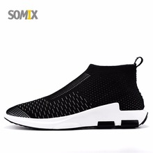 Somix Men Lightweight Running Shoes Breathable Sock Dart Outdoor Sports Shoes Slip-On Mesh Traveling Comfortable Walking Shoes