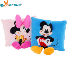 35cm 3D Mickey Mouse and Minnie Mouse Plush Pillow Kawaii Mickey Minnie Plush Toys Kids Birthday Gifts Home Sofa Decor