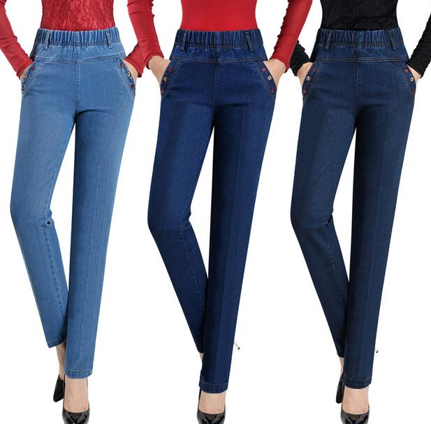 Plus size elastic high waist Jeans female embroidery straight trousers womens denim pants S95Одежда и ак�е��уары<br><br><br>Aliexpress