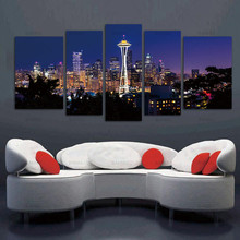 Canvas Painting Wall Art Picture Seattle High Building At Dusk Prints On Canvas City Pictures For Home Decoration no frame(China)