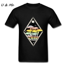 Slim Fit Causual T-Shirts Men Site Harajuku T with Rainbow Mushrooms Clothing Men Cheap and Fine T Shirts(China)