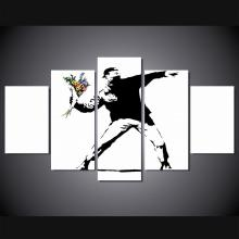 2017 Promotion Top Fashion 5 Panel Modern Banksy For Graffiti Painting Canvas Fan Artwork Wall Art For Living Room No Framed