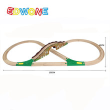 EDWONE Rural Hillside Railway Track Set Wooden Educational Slot 15Pcs 8-Form Assembling Kids Wood Pathway Assembly Toys Diecast