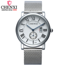 CHENXI Brand Fashion Luxury Design Men Casual Calendar Function Watch Full Steel Silver Mesh Band Quartz Watches Male Gift Clock