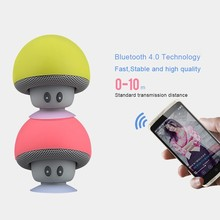 Wireless Bluetooth Speaker Heavy Bass Stereo Music Player Portable Mini Mushroom Cute Loudspeaker Suction Cup Subwoofer