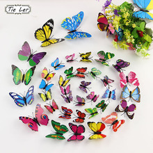 TIE LER 12 PCS PVC Butterfly Decals 3D Wall Stickers Home Decor Poster for Kids Rooms Adhesive to Decoration(China)