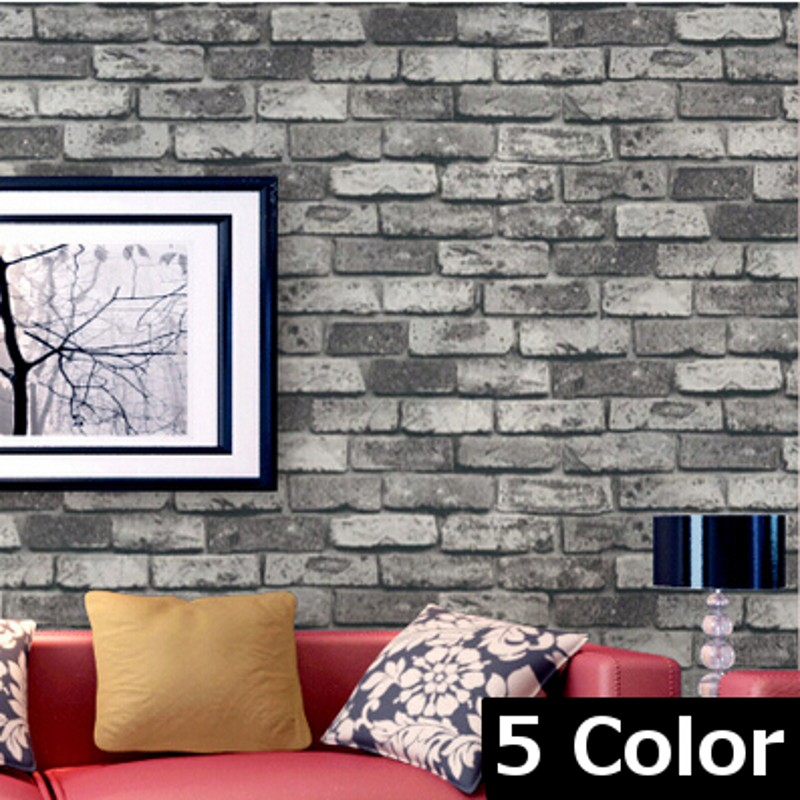 beibehang wallpaper 5 color Dark Grey Realistic Real Look Brick/Stone Vinyl Textured Background 3d Wallpaper papel de parede<br>