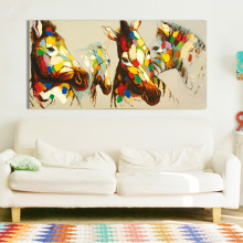Hotselling Colorful Horses Oil Painting Hand Painted On Canvas Wall Art Pictures For Home Decor(China)