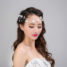 white flower pearl Headbands wreath wedding bridal hair bands forehead jewelry bride headdress rhinestone hair accessories