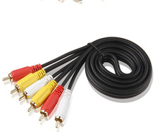 3 RCA Male to 3 RCA Male Composite Audio Video AV Cable Plug 3X RCA Retail & Wholesale 1.5M Yellow/Red/White(China)