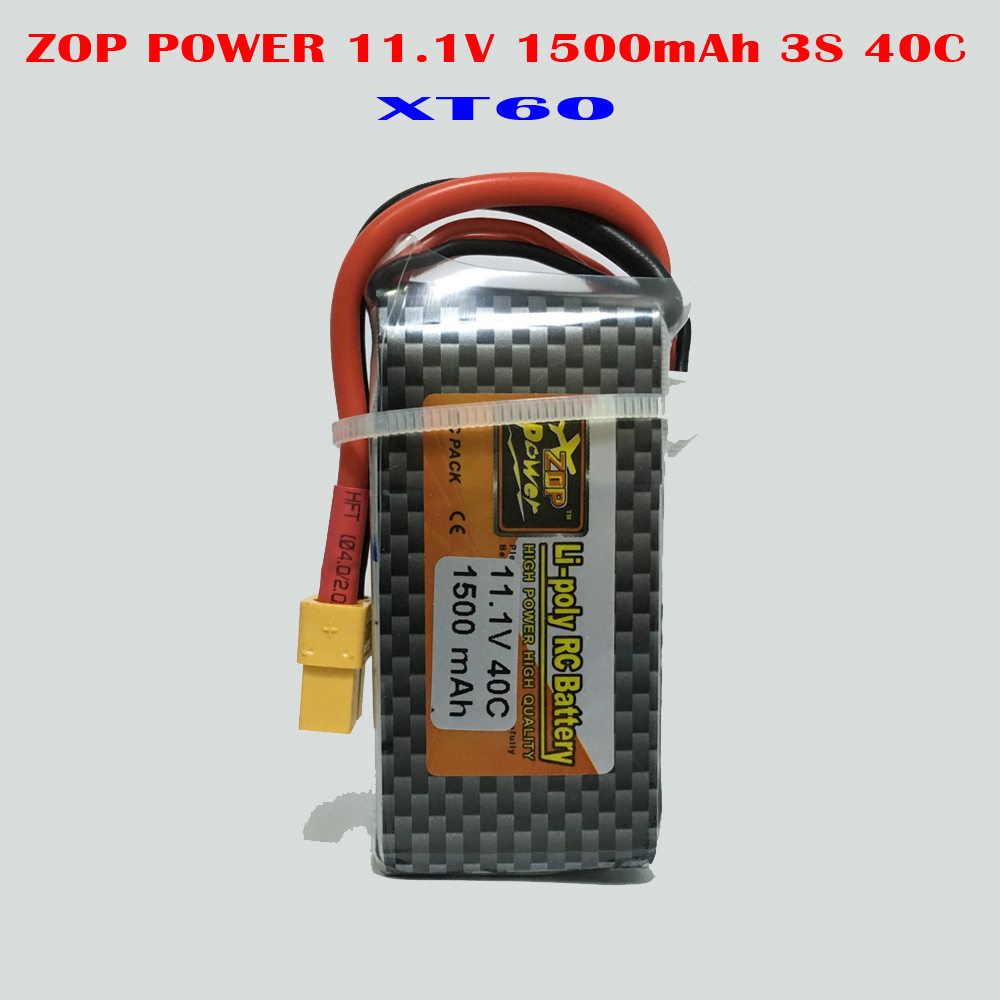 ZOP POWER 11.1V 1500mAh 3S 40C Lipo Li-Poly Lithium Battery For RC Quadcopter Drone Airplane Car Helicopter JST-XH &amp; XT60 Plug<br>