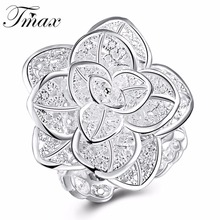 Hot Marketing Fashion Silver Plated Rose Flower Plant Jewelry Design Rings Romantic Trendy Accessories for Women Bijoux HFNE0898(China)