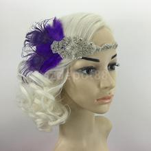 Vintage Retro 1920's Purple Charleston Feather Crystal Headband Flapper Gangster 30s Fancy Dress
