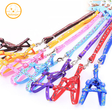 Free shipping Adjustable New printing Nylon Pet Cat Doggie Puppy Leashes Lead Harness Belt Rope Hot colorful PG41(China)