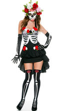 2017 Sexy Women Skull Long Skeleton Dress Adult Halloween Costume Cosplay Lace vampire bride Fancy Dress Party(China)