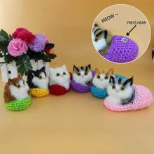 Simulate Cat + Slipper make sounds toy Dolls stuffed toys furnishing articles hand-made Simulation animal Cotton A2(China)