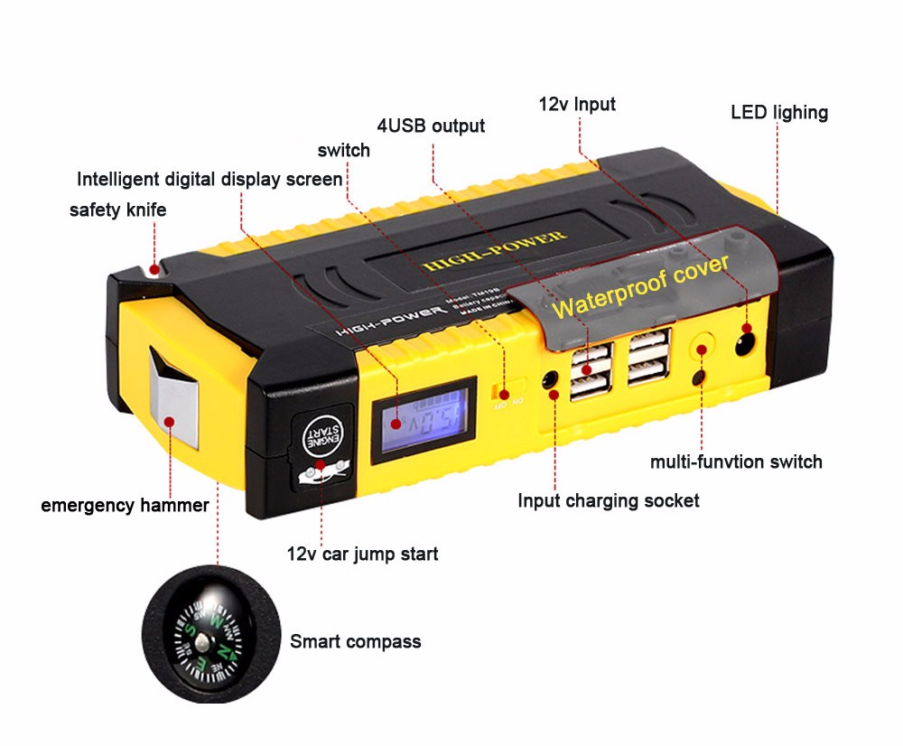 Best car jump starter 69800mah 12v 4usb battery charger pack for auto vehicle starting and