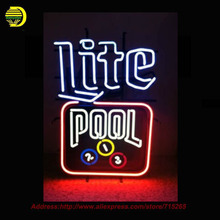 Lite beer Pool table Neon Sign Neon Bulbs Room Recreation Glass Tube Handcraft Super Bright Affiche custom business signs 19x15