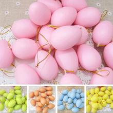 12pcs Mixed Color 42x60mm Easter Decoration For Home Kids Children DIY Painting Egg With Rope Gifts Plastic Hanging Easter Egg