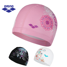 Arena Waterproof Lycra Swimming Caps for Women Swimming Cap Cover Ear Silicone Swim Caps 3 Colors 6907E(China)