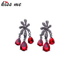 Gold Silver Color Alloy Flowers Crystal Drop Earrings Summer Classic Women Accessories Red Champagne Chandelier Earrings