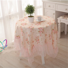 Table Cloth Country Style Flower Print Multifunctional Round/square Table Cover Tablecloth with Lace Edge MI9