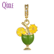 QGGLE 2017 New Alloy Rhinestone Lemon Lime Fruit Pendant & Charm Fit Bracelets For Women Fashion Jewelry Accessories(China)