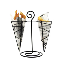 Creative Bar Casual Restaurant Snack Rack Two-Head Black French Fry Holder Iron Basket French Fry Stand Cone Basket Holder 1pcs(China)