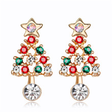 SHOWTRUE 2018 Happy New Year Christmas Tree Stud Earrings Xmas Jewelry Gift Enamel Earring Factory Direct Retail Wholesales