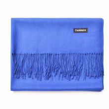 Unisex Men Women Faux Cashmere Scarf 200CM 250g Solid Blue Scarves Beach Warm Autumn Spring Pashmina Shawls Tassels Wrap Poncho(China)