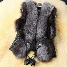 Low 2017 Autumn and Winter New Design Nature Genuine Real Silver Fox Fur Vest gilet outwear womens with Fox Heads