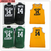 LANSHITINA Basketball Jersey Will Smith 14 the Fresh Prince Movie American Throwback Sleeveless Jerseys Yellow Black Green