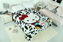 Cow Skin Hello Kitty Printed Blankets Throw Bedding 150*200CM Size Baby Kids Girl Children's Bed Home Bedroom Decoration Flannel