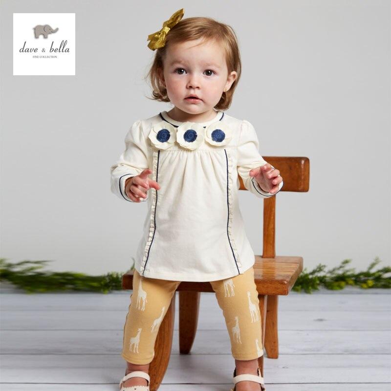 DB3734 davebella autumn baby girls giraffe printed clothing sets  printed sets baby clothing sets baby white flower clothes<br>