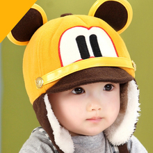 Baby Hats Warm Plus Velvet Caps Ear Protection Beanies Autumn Winter Newborn Cap Cartoon Mouse Baby Beanie Hat Baby Accessories