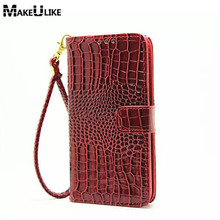MAKEULIKE Hand Strap Flip Cover Case For Samsung Galaxy E5 Wallet Case Luxury Croc Leather Phone Bags Cases For Samsung E5 E500(China)