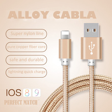 Newest Colorful Nylon Line & Metal Plug Micro USB Cable for iPhone 6 6s Plus 5s iPadmini / Samsung / Sony / Xiaomi / HTC/ type-c