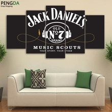Modular Canvas For Room Decor 5 Piece HD Printed JACK DANIELS Drink Painting Headset Movie Poster Grey Wall Art Pictures PENGDA(China)