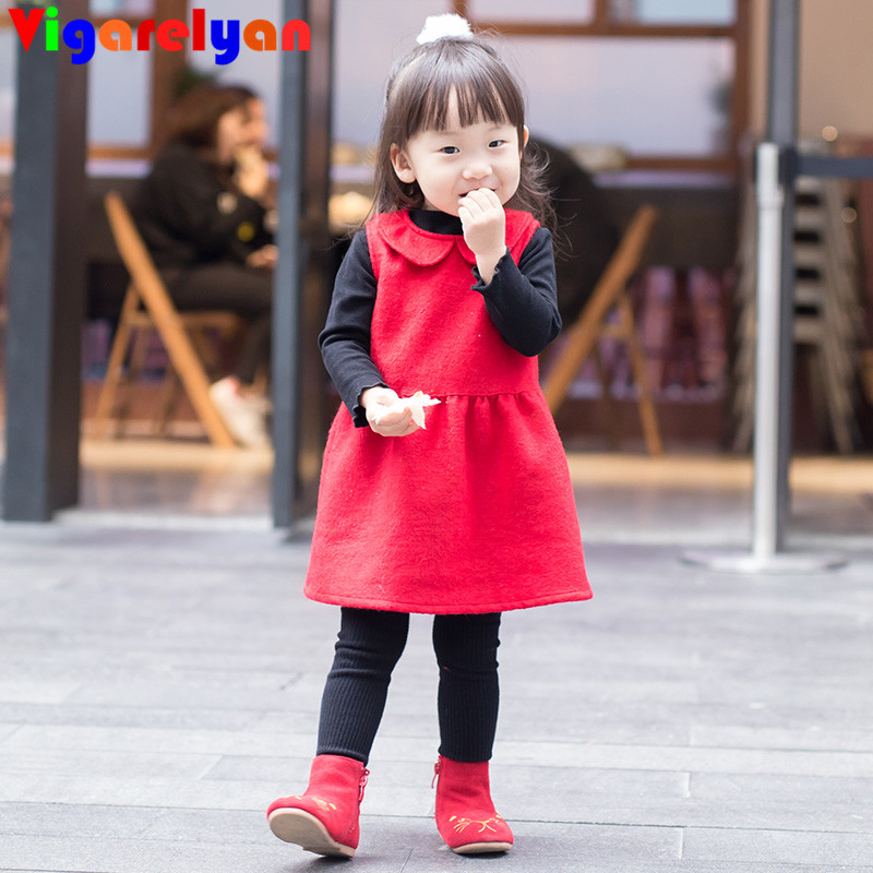Little Girls Red Sleeveless Princess Dress Winter Children Clothes Spring Toddler Girl Woolen Dress Baby Girl New Year Red Dress<br>
