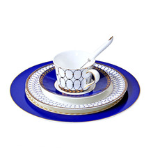 Hotel Home Restaurant Hot quality Bone China Dinner Service Beef Steak Dish Refreshment Plates Coffee Cups Saucers Sets